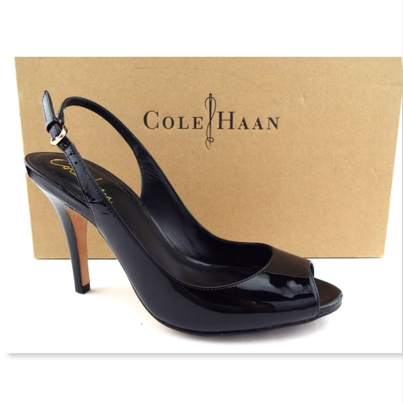 74304127920 New COLE HAAN Nike Air Black Patent Slingback 6.5
